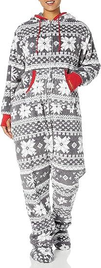PajamaGram Hoodie-Footie Nordic Fleece Womens Onesie Pajama