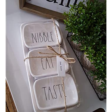 Rae Dunn Artisan Collection 4-Piece Tray / Serving Platter Set 6  X 13  NIBBLE TASTE EAT (Large Letters) [Dishwasher Safe]