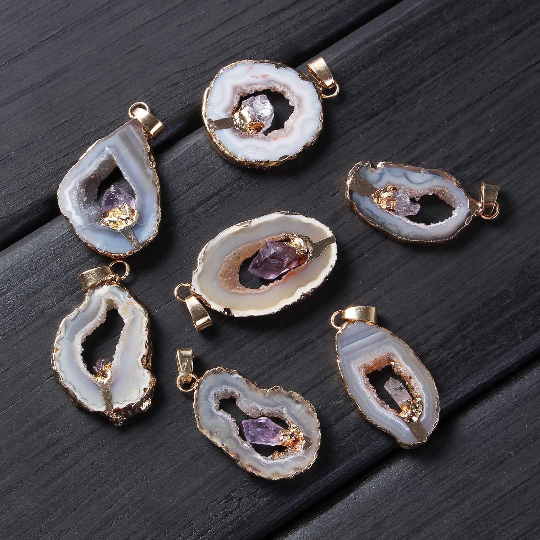 18K Gold Plated Pendant PG0908D Amethyst Slice Pair Amethyst Earring Pair Amethyst Triangle Slice Pair Free Form Druzy Agate Pair