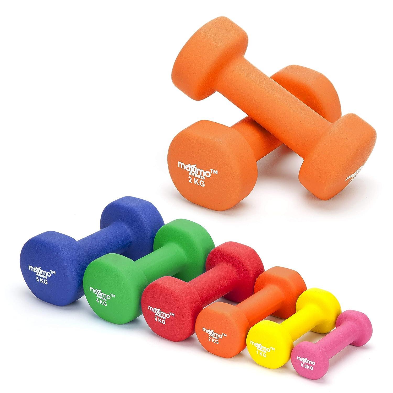 Maximo Fitness Mancuernas de Neopreno (Par) - 2 x 2kg - Pesas de Mano Perfectas para el Desarrollo de Fuerza, Tonificación Muscular, Gimnasia en Casa y ...