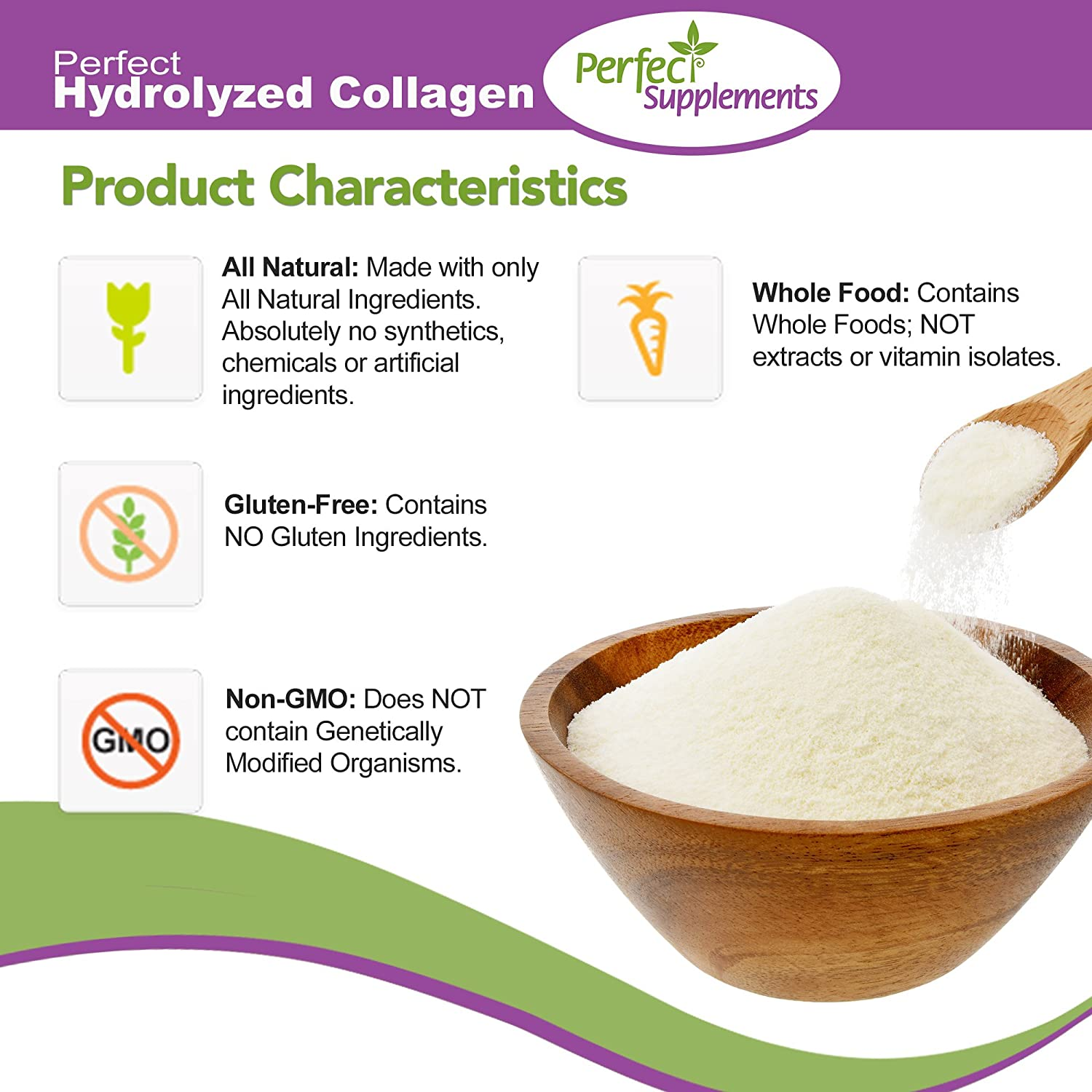 Perfect Hydrolyzed Collagen Peptides, from 100% Grass-Fed Brazilian Pasture  Raised Cows, Large