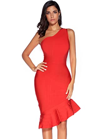 Amazon.com: Meilun Womens One Shoulder Fishtail Skirt Bandage Prom ...