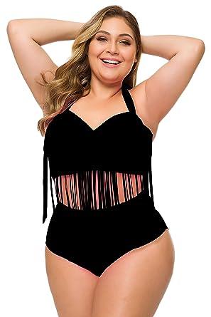 40c6bd17f1 Echo Paths 2 PCS Plus Size Retro High Waist Braided Fringe Top Bikini  Swimwear Bathing Suit