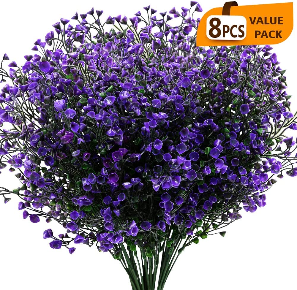 KLEMOO Artificial Shrubs Bushes 8 Pack Fake Outdoor UV Resistant Plants Flowers, Faux Plastic Bell Leaves Greenery for Indoor Outside Hanging Planter Home Office Wedding Farmhouse Decor (Purple)