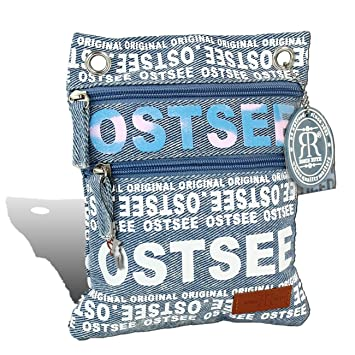 Robin Ruth Ostsee Schultertasche blau weiß matt Baumwolle Farbverlauf OTG2103B