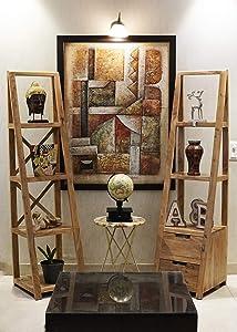 DECORINY Keywest Acacia Wood 4 Tier Self Storage Ladder Bookcase Organizer (with and Without Drawer, Birchwood