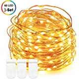 LED Micro Lights String, DecorNova 60 LED Battery Operated Ultra Thin Copper Wire Fairy String Lights for Christmas Tree Bedroom Mason Jar Wedding Decorations, 9.8 Feet, Warm White (Set of 3)