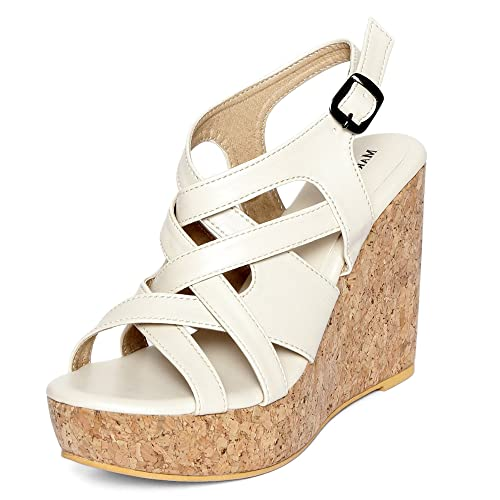 2bf37d710f3 MarcLoire Women Wedge Heels, Girls Fashion Sandals, Open Toe Wedge Sandals,  Buckle Type Platform Heels - Synthetic, Black, Beige, Cream