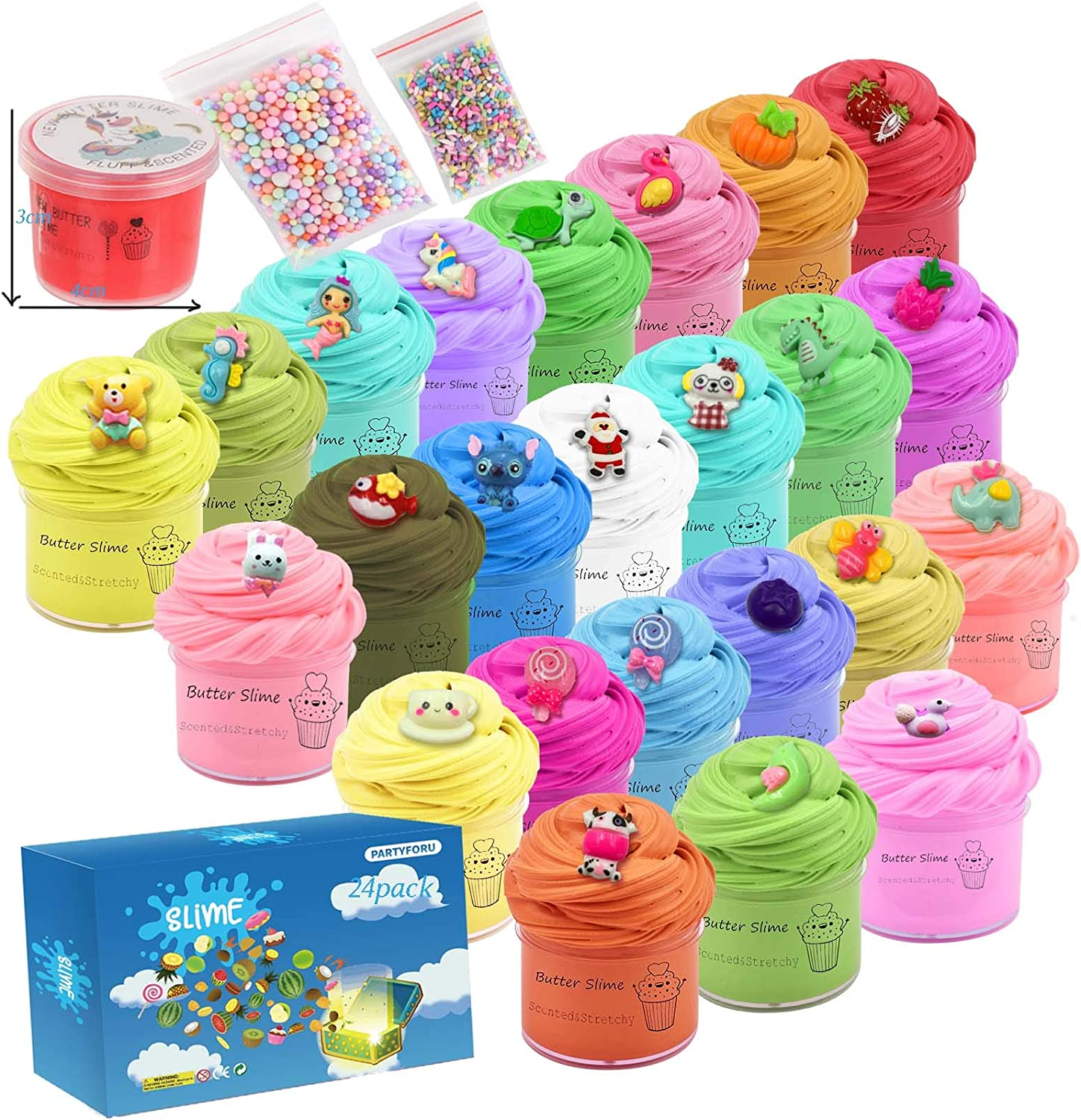 Partyforu 24 Pack Mini can Slime, Butter Slime,Animal and Fruit Slime, Stretchy and Non-Sticky, Stress Relief Toy for Girl and Boys