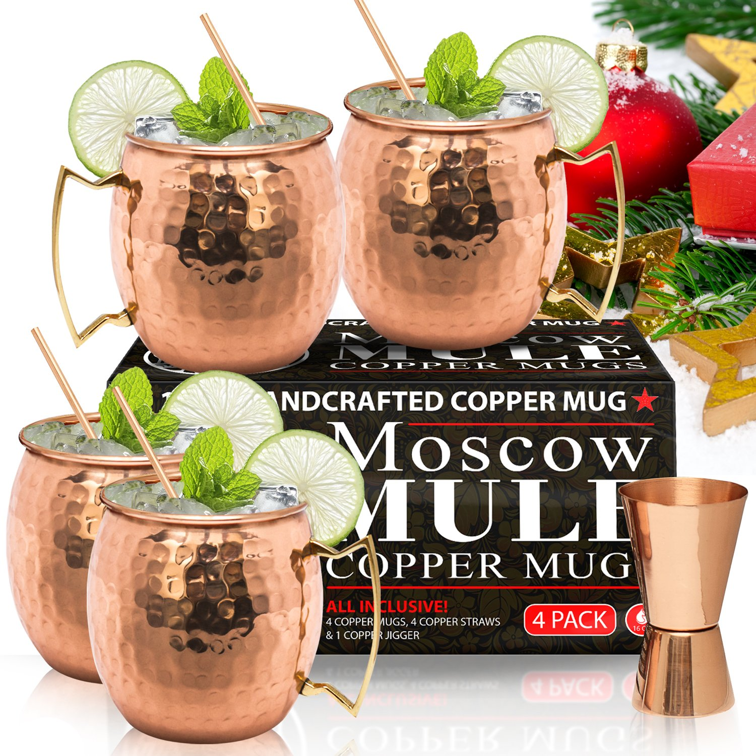 Moscow Mule Copper Mugs - Set of 4x 16oz Mugs And Copper Straws