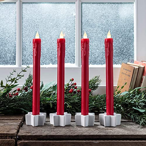 Lights4fun, Inc. Set of 4 Red Wax Battery Operated Remote Control Flameless LED 9 Taper Candles