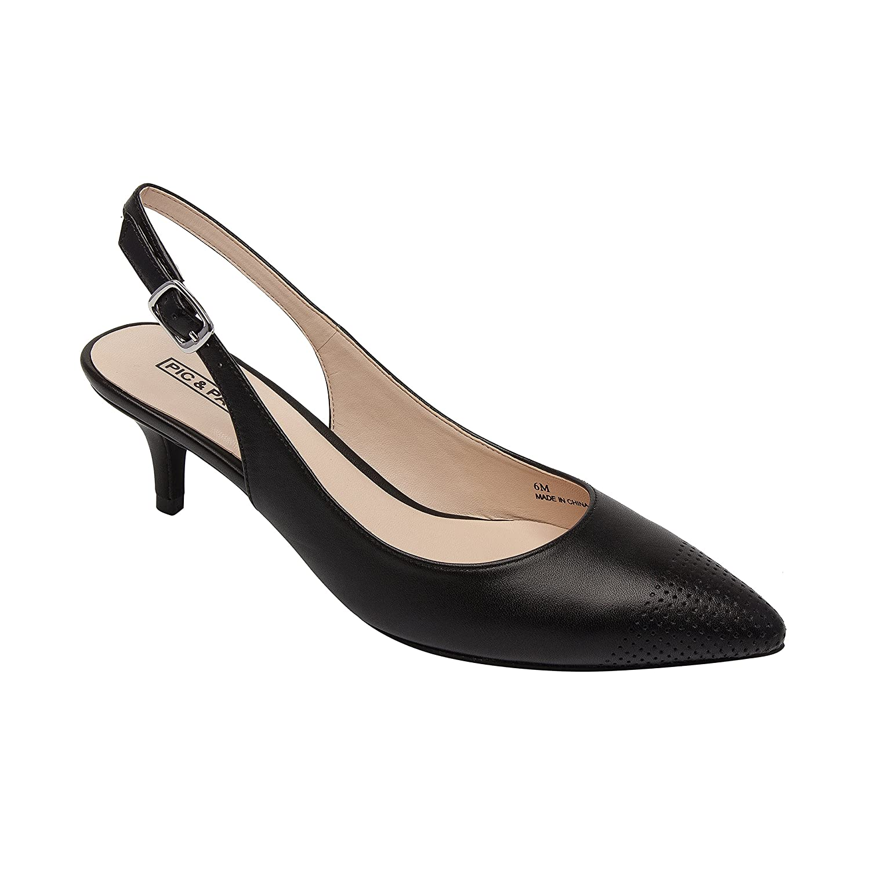 Hazel | Women's Low Heel Perforated Cap Toe Comfortable Slingback Pump B07B6D7XYJ 8.5 B(M) US|Black Leather