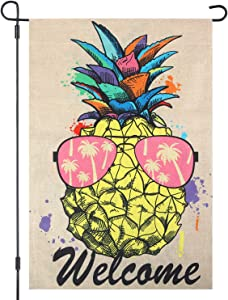 Garden Flag Welcome Pineapple Double Sided Burlap Garden Flag, Seasonal Spring Summer Outdoor Funny Decorative Flags for Garden Yard Lawn, Gift for Children, 12.5 x 18.5 Inch