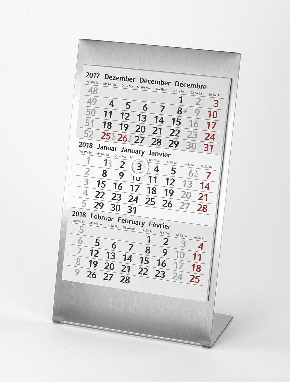 HiCuCo Calendario de mesa (3 meses para 2 años (2016 y 2017) – Acero inoxidable – TYPA: Amazon.es: Oficina y papelería