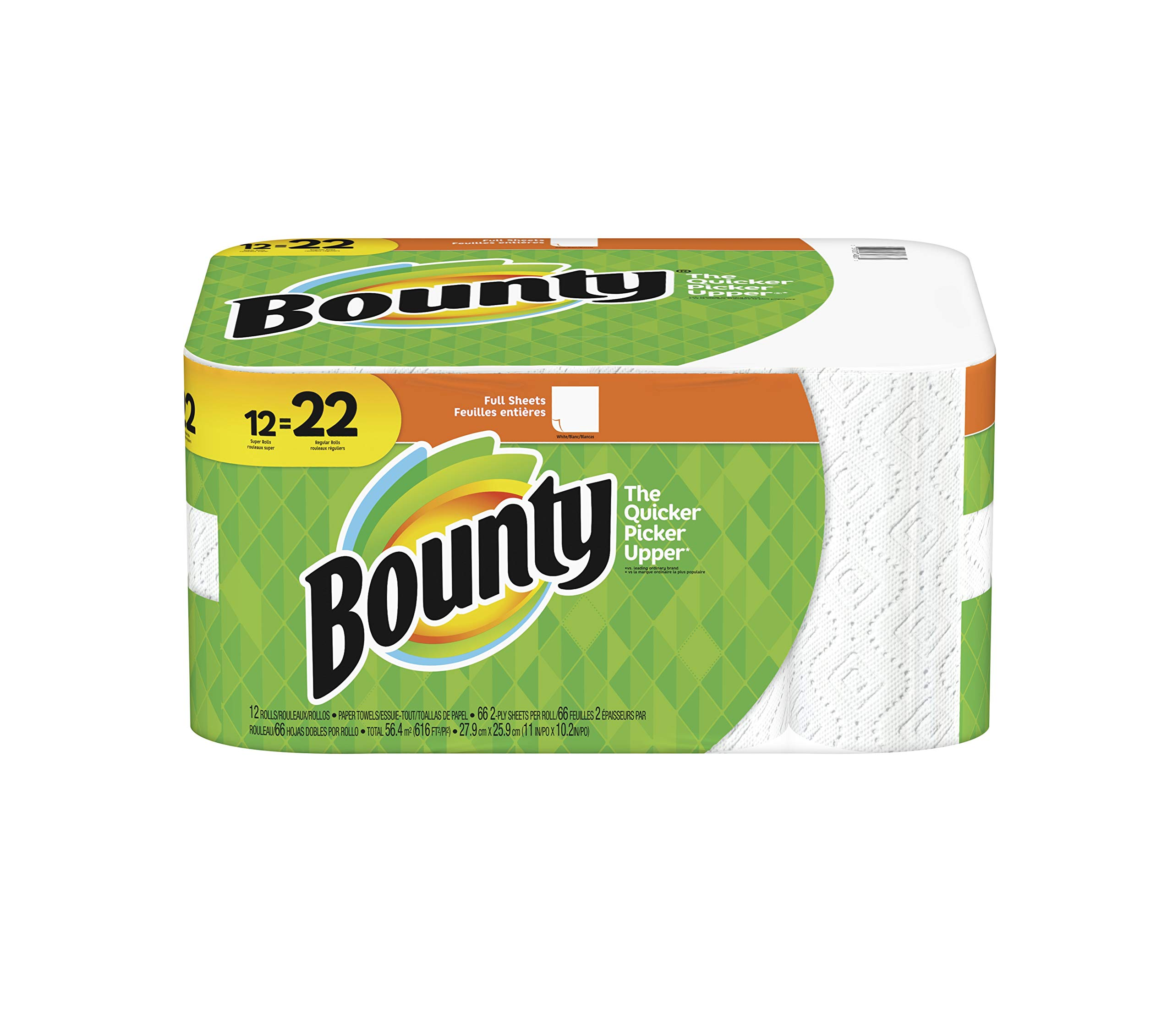 Bounty Paper Towels, Super Rolls, 66 sheets, 12 rolls