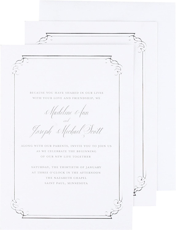 Silver Foil Ornate Border Print at Home Invitation Kit