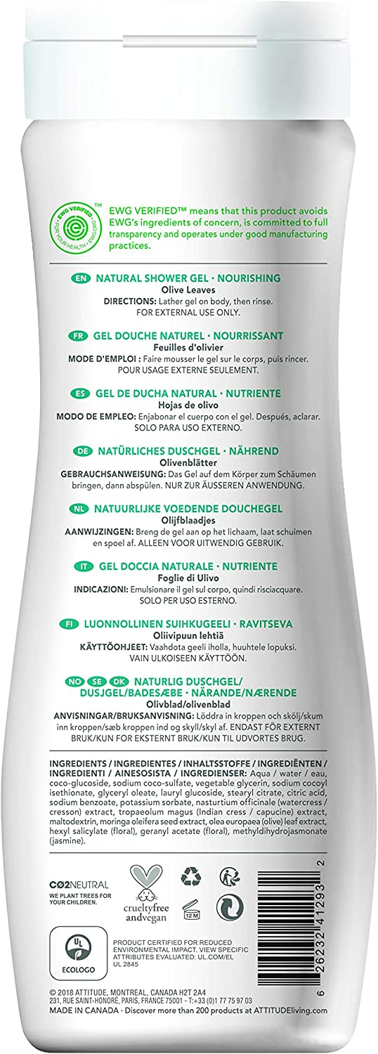 ATTITUDE Super Leaves Gel de Baño y Ducha Nutritivo 473ml: Amazon ...