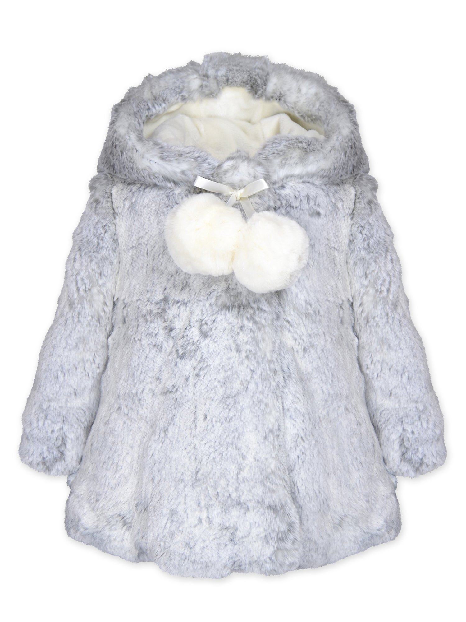 Widgeon Toddler Girls' Hooded a-Line Faux Fur Coat with Pompom 3706, Glam/Glacier Mist, 2T