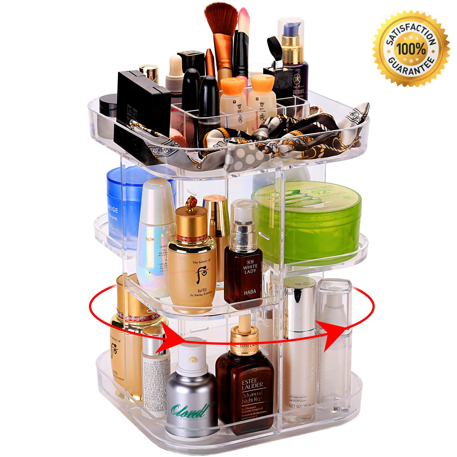 Rotating Makeup Organizer, 360 Degree Rotating Cosmetic Storage Box, Makeup Holder Acrylic Vanity Organizer Box with DIY Adjustable Tray, Large Capacity, Space Saving, Fits Toner, Creams, Makeup Brushes, Lipsticks ( Transparent ) Weiding