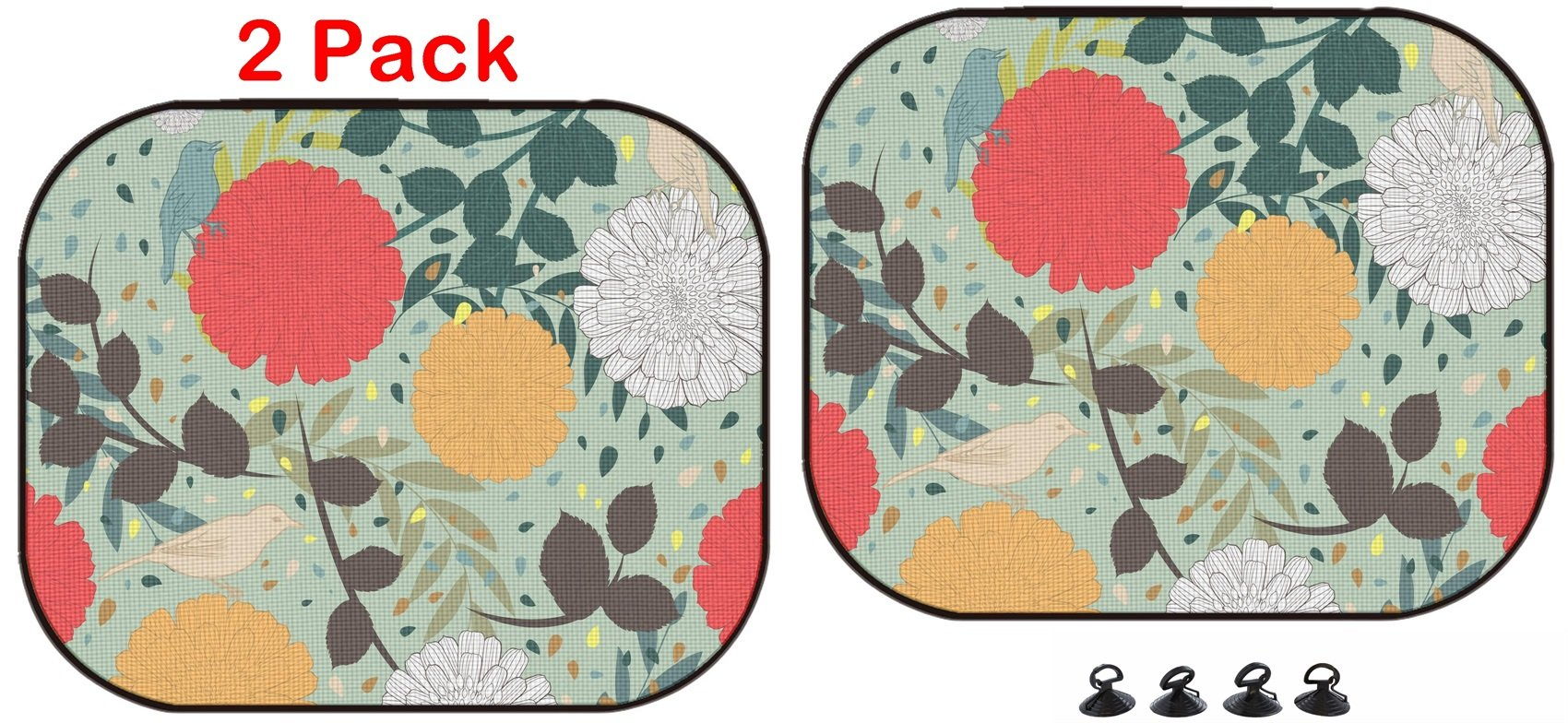 Luxlady Car Sun Shade Protector Block Damaging UV Rays Sunlight Heat for All Vehicles, 2 Pack ID: 43154050 Colorful Seamless Floral Ornate Pattern by Luxlady
