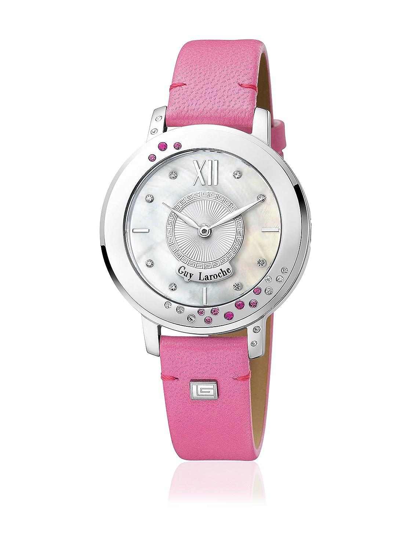 GUY LAROCHE Damenuhr - L5013-03 - Edelstahl silber - Lederband pink