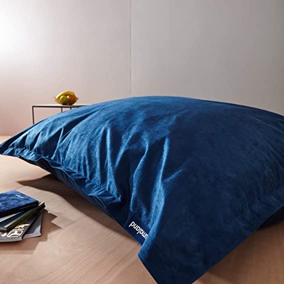 Lumaland Grand Pouf Micro Velours XXL 380l pour Enfants et Adultes Si/ège rembourr/é g/éant 140 x 180 cm Int/érieur Bleu Fonc/é