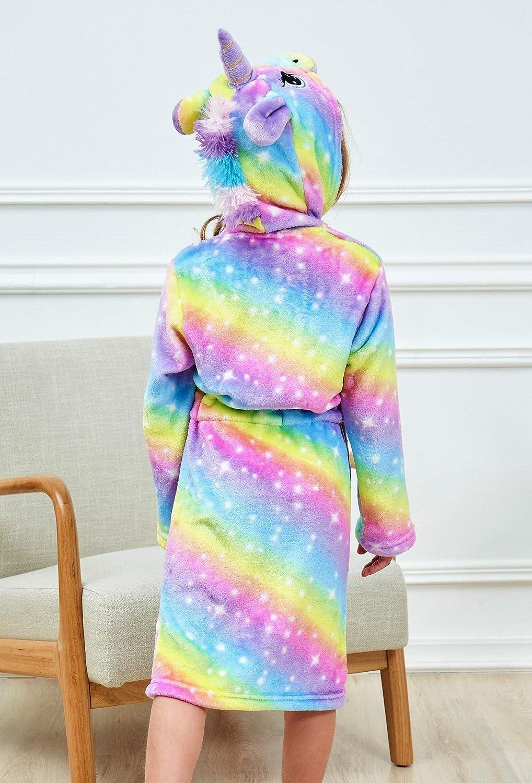 HulovoX Unicorn Hooded Bathrobe with Matching Unicorn Slippers and Headband