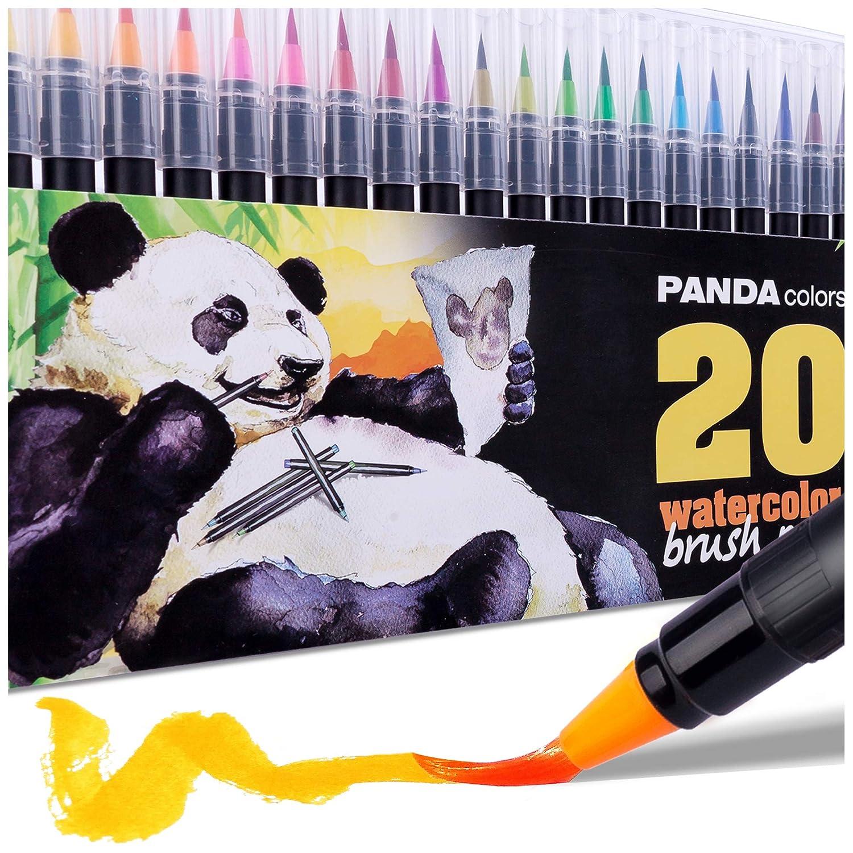 Watercolor Markers - Watercolor Pens - Calligraphy Brush Pens Set - Watercolor Paint Pens for Kids - Set of 20 Premium Colors - Portable - Washable - Non-Toxic PandaColors
