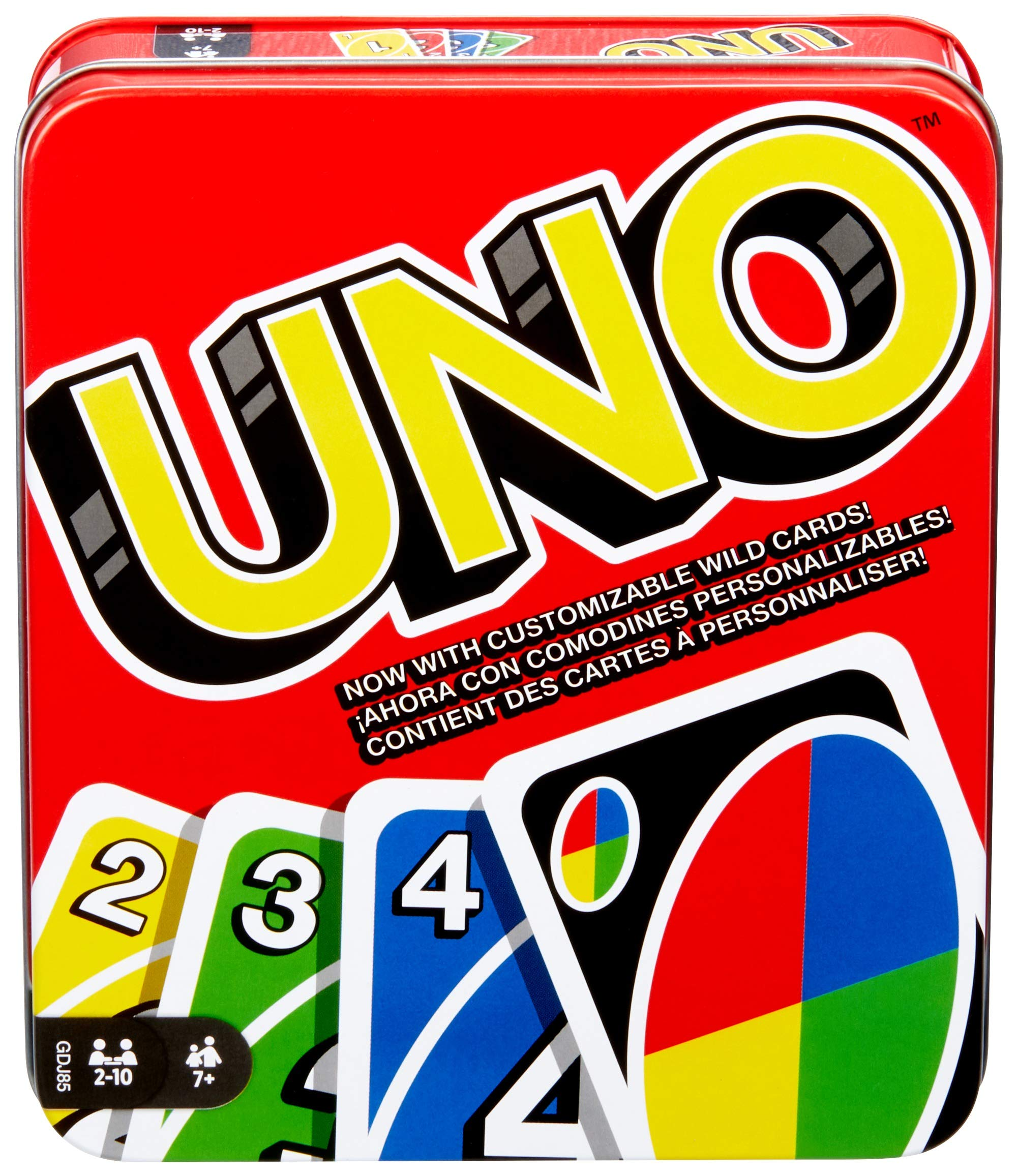 Mattel Games UNO: Family Card Game with 112 Cards in a Sturdy Storage Tin Travel-Friendly Makes a Great Gift for 7 Year Olds and Up [Amazon Exclusive] (GDJ85)