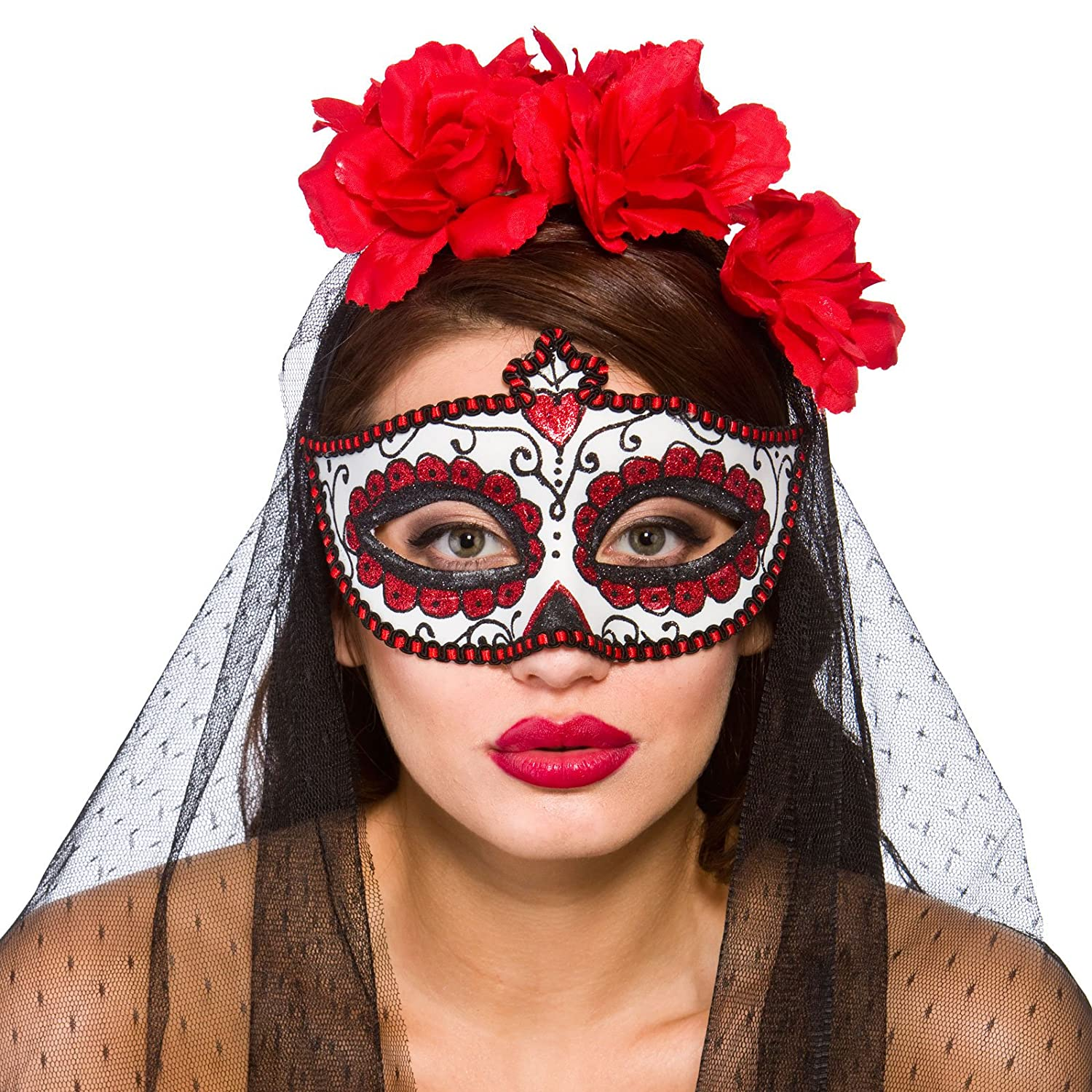 Adults Day of the Dead Mexican Eye Mask Fancy Dress Costume Accessory Wicked