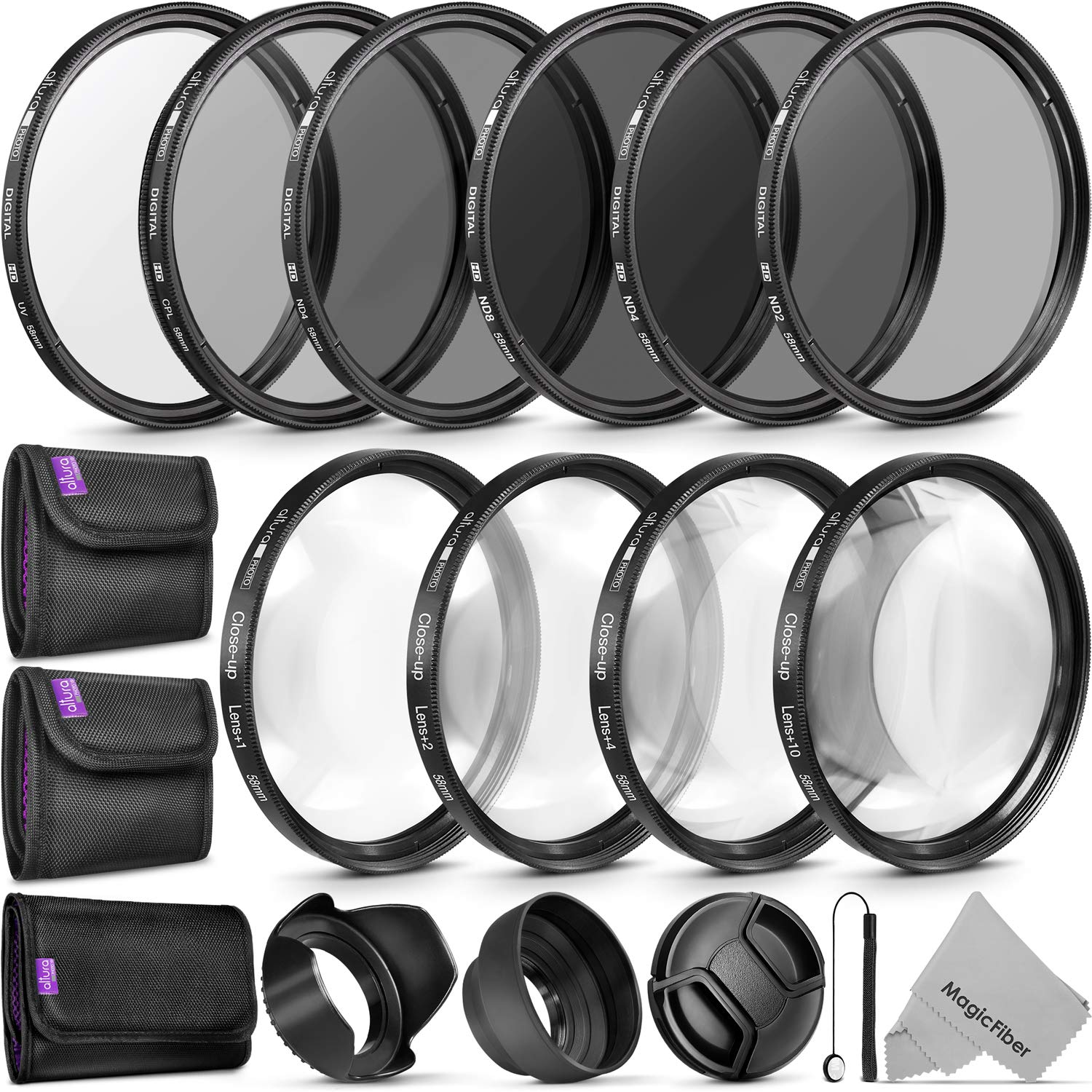 58MM Complete Lens Filter Accessory Kit (UV, CPL, ND4, ND2, ND4, ND8 and Macro Lens Set) for Canon EOS 70D 77D 80D Rebel T7 T7i T6i T6s T6 SL2 SL3 DSLR Cameras by Altura Photo
