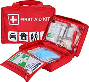 ProCase First Aid Kit, All-Purpose Survival Kit with 96 Pieces Outdoor Emergency Supplies for Car, Home, Office, Sports, Travel, Camping, Hiking and Kayaking -Red