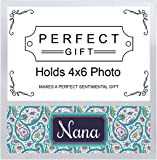ThisWear Best Nana Ever Mother's Day Gifts for Nana Paisley Pattern Silver Metal 4x6 Landscape Picture Frame