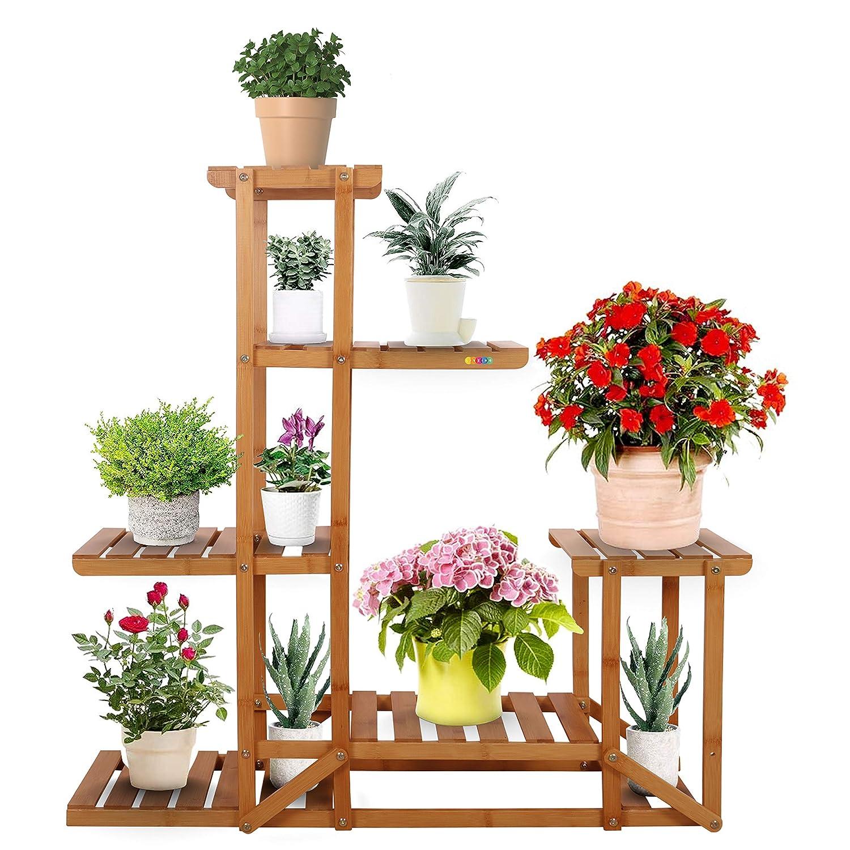 Wooden Plant Flower Pot Stand 5 Tier Display Shelf Vintage Indoor Outdoor Garden
