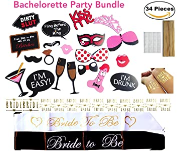 naughty bachelorette party favors sashes bride tribe gold flash tattoos party photo booth prop signs quot