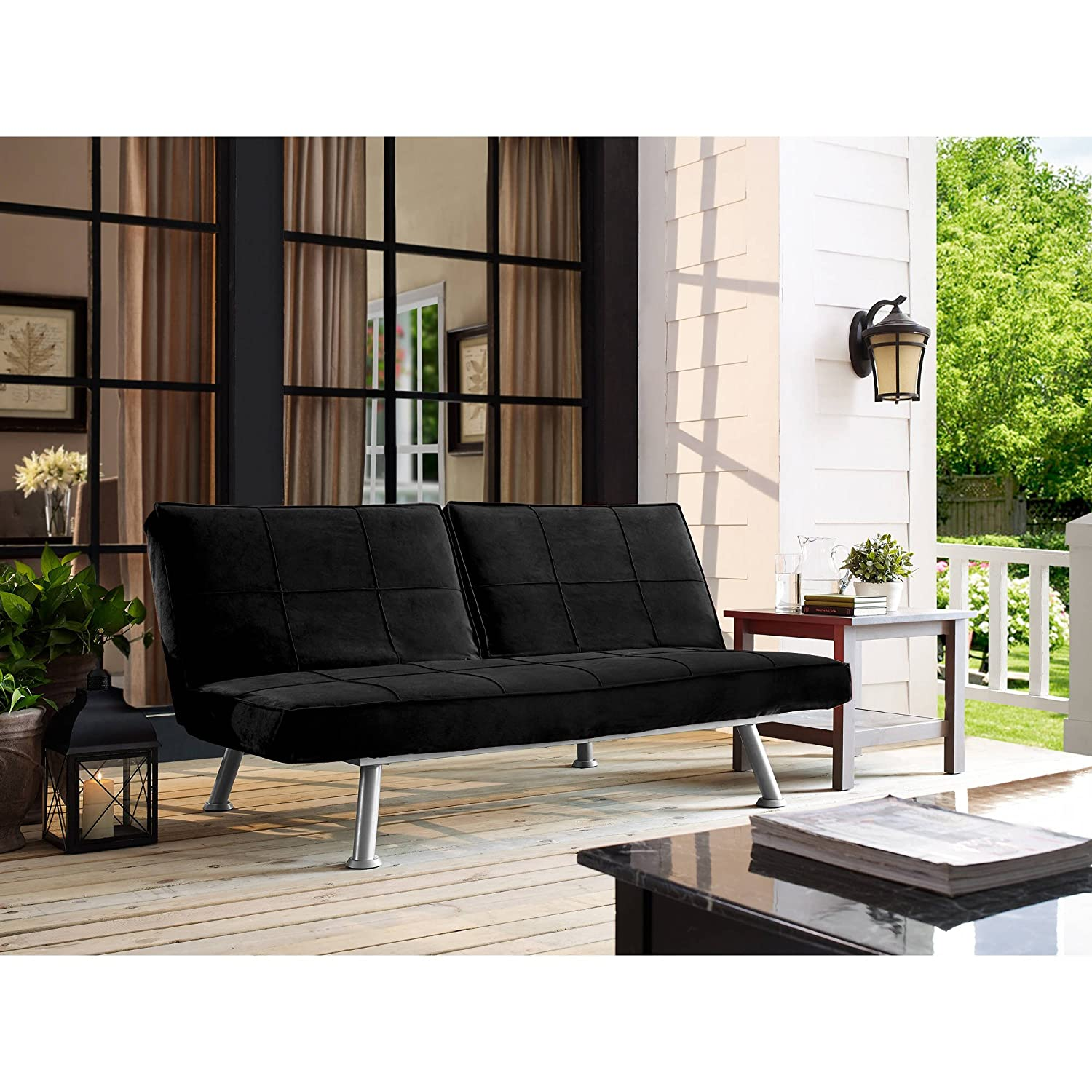 Living room sofa black finish 4 seat functions metal frame and legs silver powder coated finish rectangular stitching bundle with our expert guide