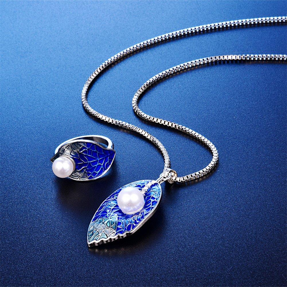 LUYUAN JEWELRY Fashion Women Jewelry Set Pearl Kiss Leaf Blue Enamel Leaf Single Pearl Pendant Necklace Stud Earrings - Ring#9