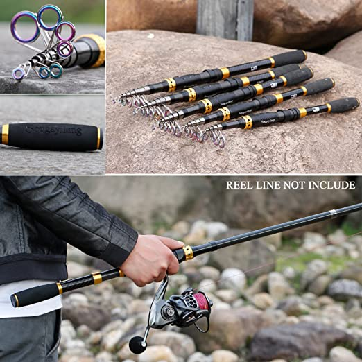 Sougayilang Telescopic Fishing Rod 24 Ton Carbon Fiber Ultralight Fishing Pole with CNC Reel Seat, Portable Retractable Handle, Stainless Steel