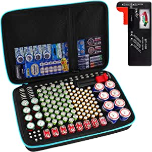 Battery Organizer Storage Box with Battery Tester (BT168), Case Bag Holder fits for 152 Batteries AA AAA AAAA 9V C D Lithium 3V(Not Includes Batteries)(Blue)