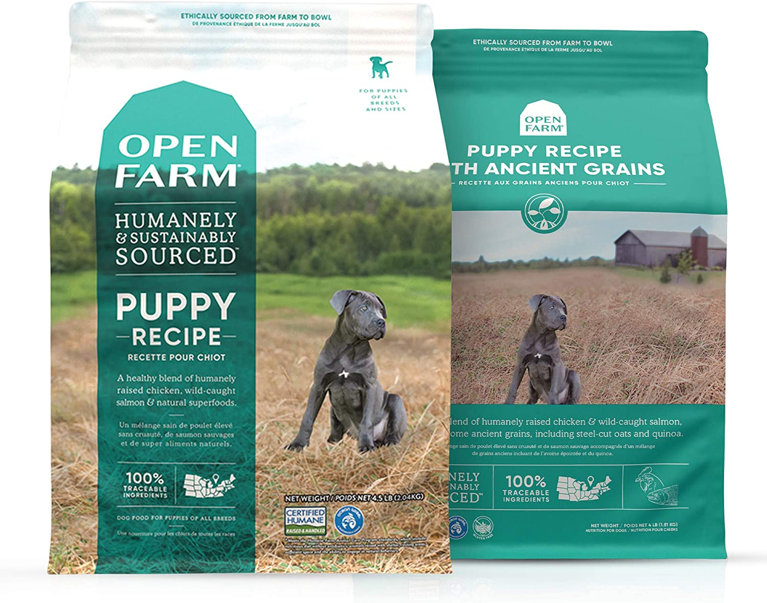 Open Farm Dry Puppy Dog Food Bundle, Grain-Free & Ancient Grain Recipe, 100% Humanely Raised Meat Recipe for Puppies with Non-GMO Superfoods and No Artificial Flavors or Preservatives