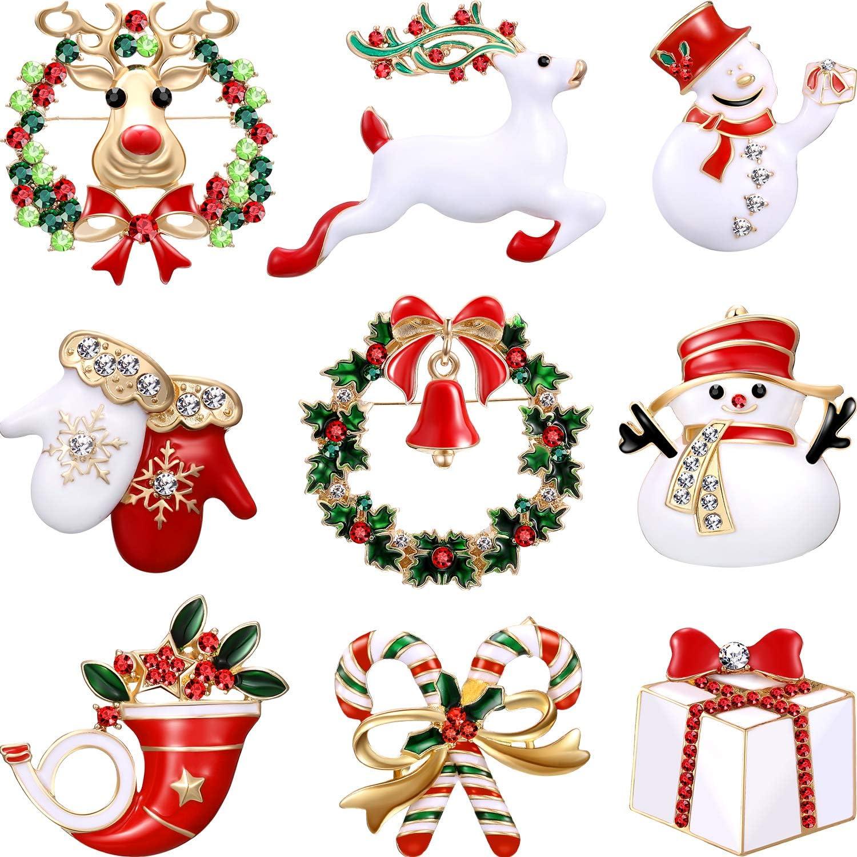 Hicarer Conjunto de 9 Piezas Pin Broches de Navidad con Diamante de Imitación Decoración de Navidad de Cristal (Conjunto de Guantes)