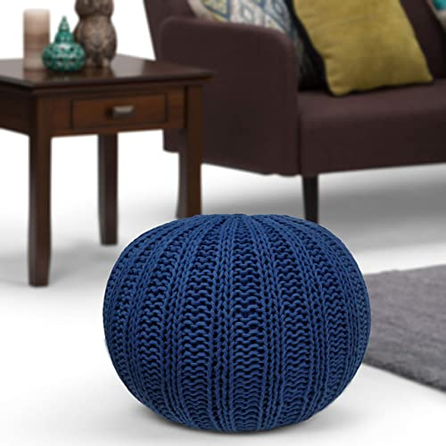 SIMPLIHOME Shelby Hand Knit Round Pouf