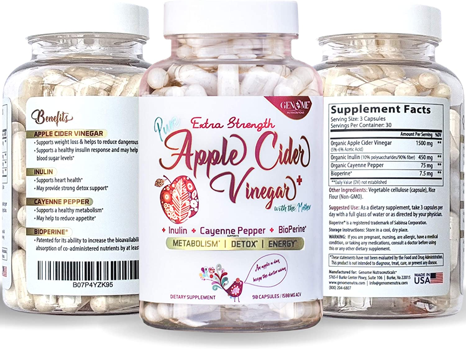 Potent Apple Cider Vinegar + Organic Mother, Inulin, Cayenne Pepper & BioPerine Capsules | Advanced ACV Supplement Formula in a Pill by Genome Nutra | Great for Digestion and Health (1500mg)