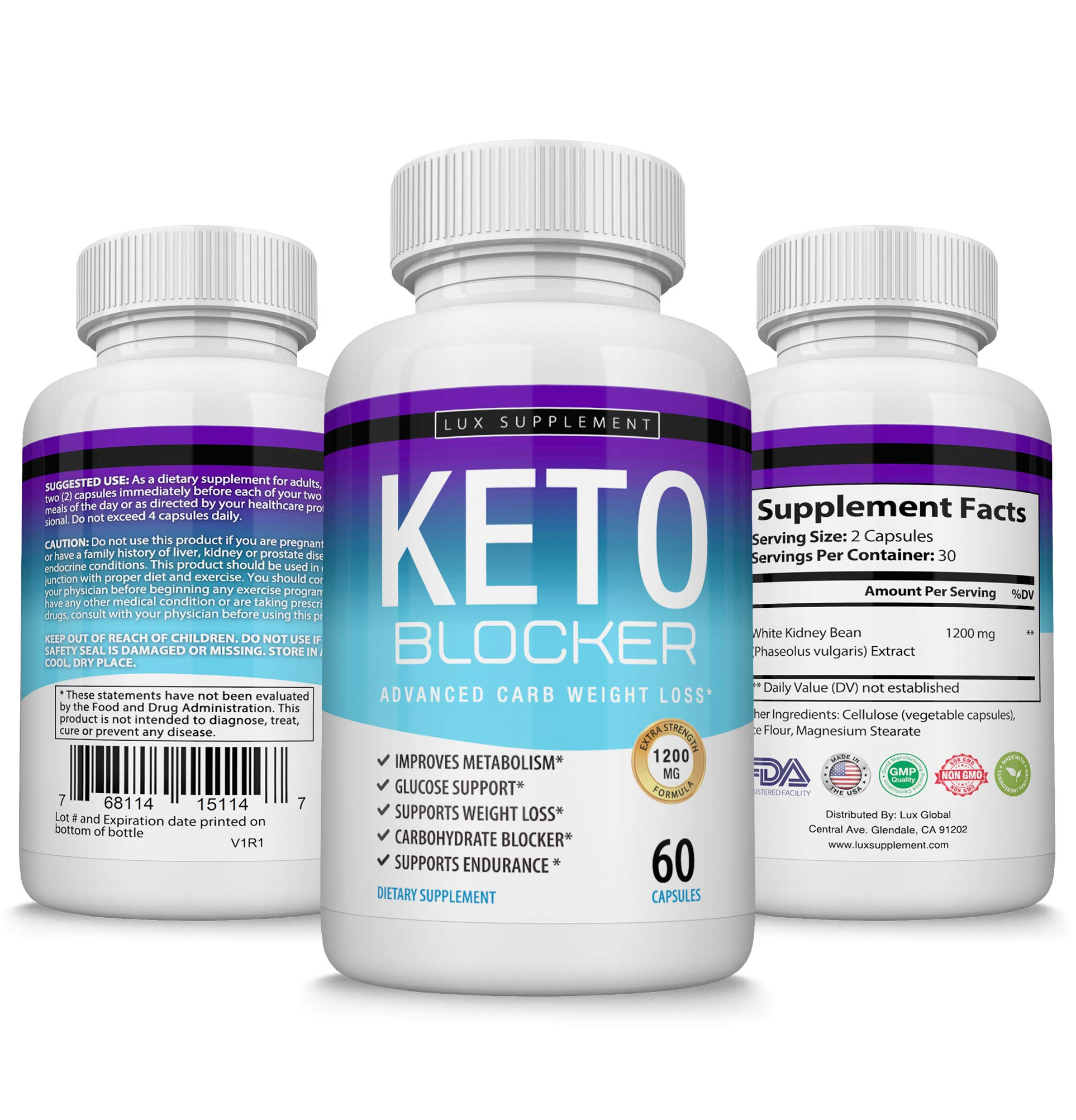 Keto Blocker Pills Advanced Carb Weight Loss - 1200 mg Natural Ketosis Fat Burner for ketogenic Diet, Suppress Appetite & Cravings, Boost Metabolism, Effective Men Women, 60 Capsules, Lux Supplement by Lux Supplement (Image #2)