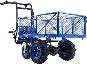 Landworks Utility Service Cart Wheelbarrow Power Wagon Super Duty Electric 48V DC Li-Ion Battery Powered 500LBS Load & 1000LBS+ Hauling Capacity Farm & Garden Dump w/All Purpose Modular Cargo Bed