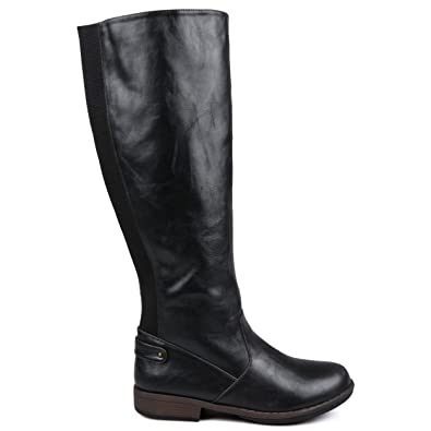 cd44033cc10e Brinley Co. Womens Regular and Wide-Calf Knee-High Stretch Riding Boot Black