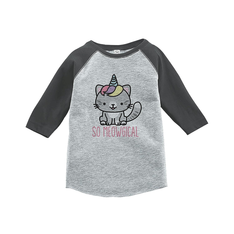 7 ate 9 Apparel Kids Cat Unicorn Raglan Tee Grey