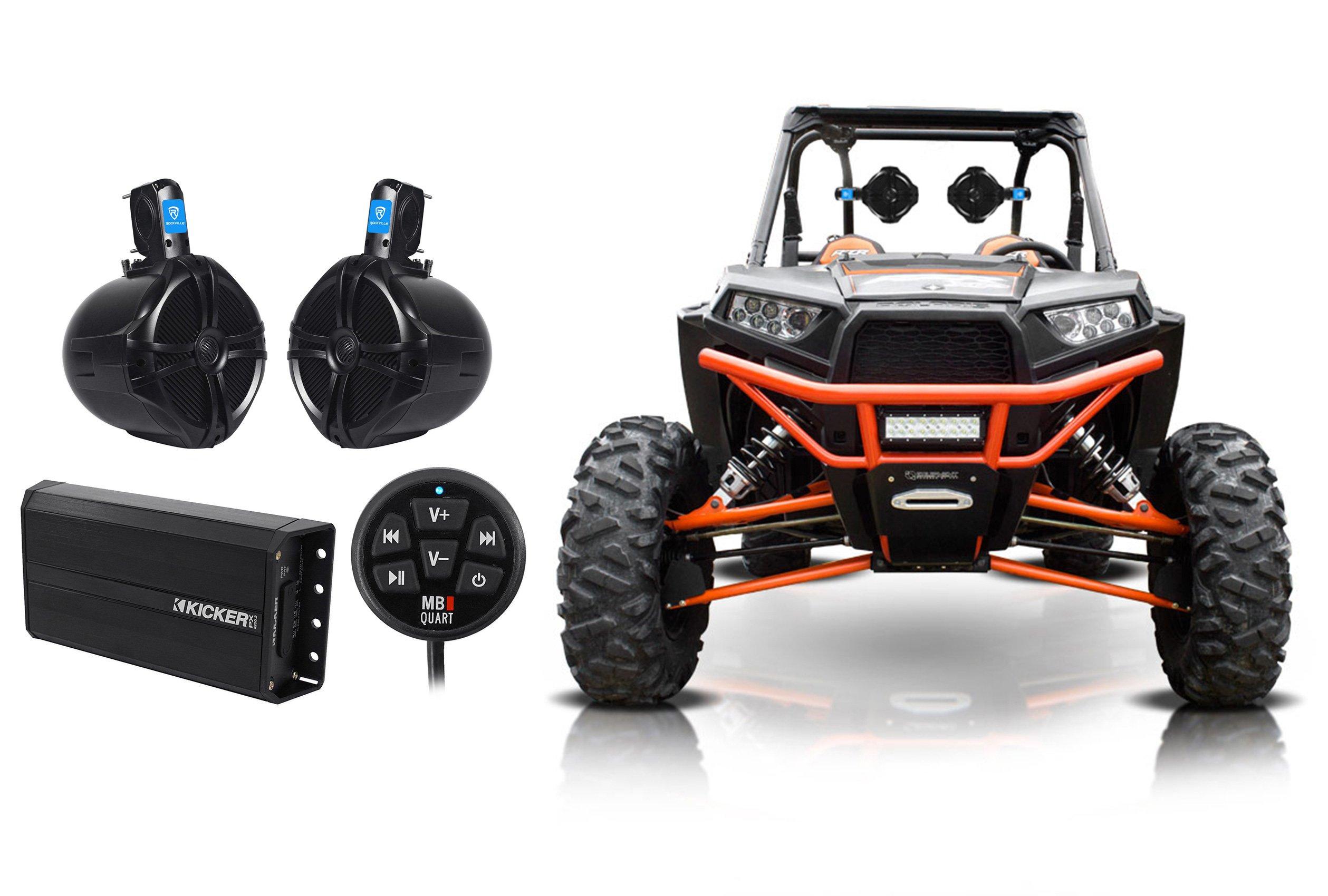 2) Rockville 8'' Rollbar Tower Speakers+Kicker Amp+Bluetooth Contol ATV/UTV/RZR