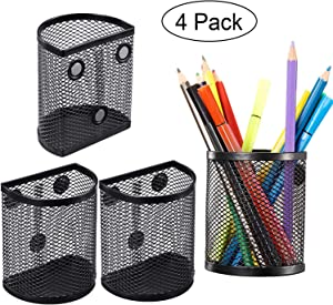 Magnetic Pencil Holder, Mesh Storage Baskets with Magnets to Hold Whiteboard, Locker Accessories, Black (4)