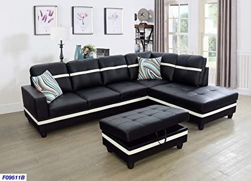 Beverly Fine Funiture Sectional Sofa Set, Black and White